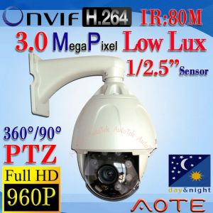 W8012H-NF-B HD 960P 3MP H.264 IP Camera PTZ Low Luxr ONVIF